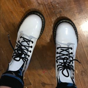 patent leather WHITE doc martens